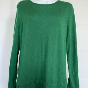 J.Jill Merino Wool Sz PM Tunic Sweater Green